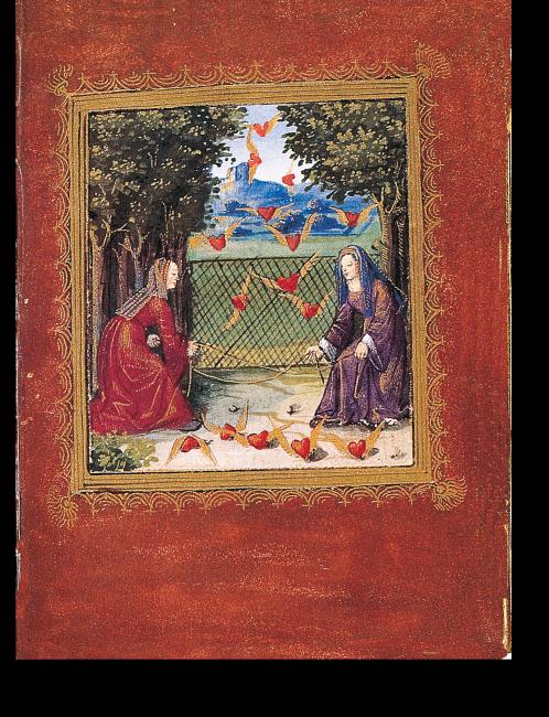 Fol. 13r: Zwei Hofdamen beim Versuch, eine Wolke aus fliegenden Herzen mit zwei Schnüren einzufangen.