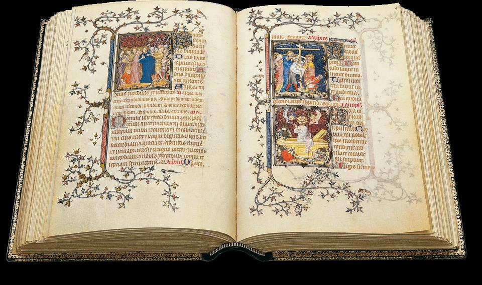 Der aufgeschlagene Band zeigt die Miniaturen auf fol. 140v/141r: links die Gefangennahme Christi und der Judaskuss, rechts oben die Kreuzabnahme und unten die Auferstehung.