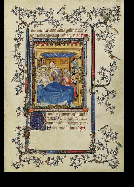 Fol. 207r: Die Geburt Johannes des Täufers (Lk 1,57-64); Jean Le Noir. Elisabeth ruht auf ihrem Lager und betrachtet das von einer Hebamme gehaltene Kind. Rechts Zacharias, der Vater des Knaben, der bestätigt, dass das Kind Johannes heißen soll.