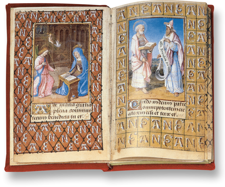 Der aufgeschlagene Band zeigt die Miniaturen auf fol. 1v: Verkündigung  und fol. 2r: der Apostel Petrus mit dem Propheten Jeremia