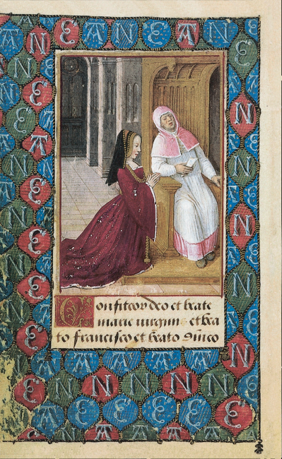 Fol. 10v: Anne de Bretagne bei  der Beichte. Ihr hermelinbesetztes Kleid und die schwarze bretonische Haube zeigen die Verbundenheit mit ihrer Heimat.