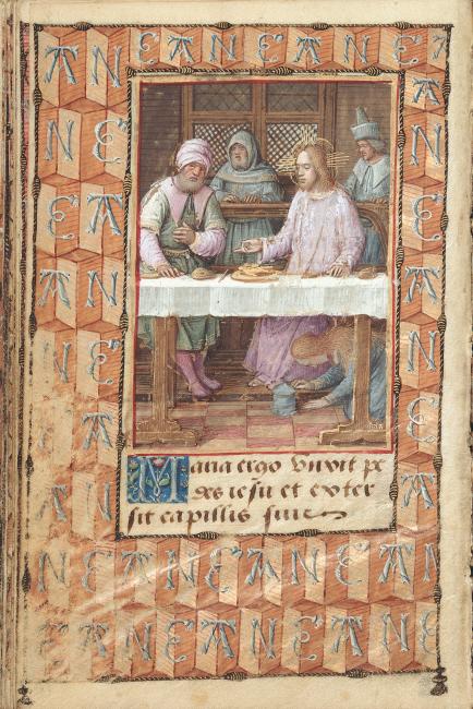 Fol. 18v: Die Hl. Maria Magdalena wäscht Christus die Füße.  Alle Miniaturen sind mit einer breiten Bordüre gerahmt, die mit Annes Namenszug geschmückt ist.