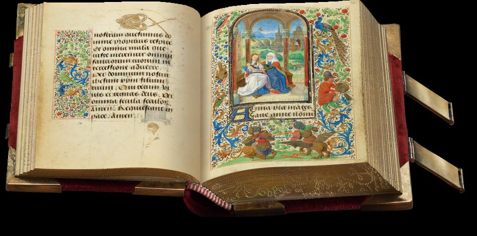 Der aufgeschlagene Band zeigt auf fol. 45r in der Hauptminiatur Maria mit dem Kind, zärtlich umfasst von der heiligen Anne. eine Bordüre mit Streublumen und Akanthusrangen, Vögeln und einer Phantasiegestalt mit zwei Köpfen rahmt die Szene.