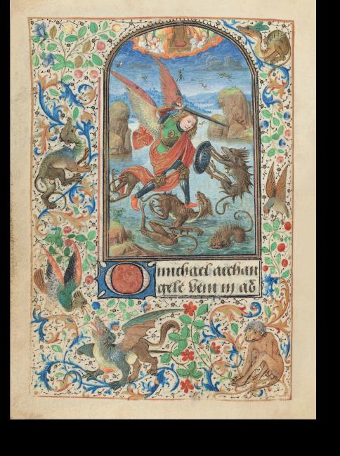 Fol. 15v: Der heilige Michael im Kampf gegen die Teufel. Im orangefarbenen Wolkenband ist der leere Thron Luzifers zu sehen, die Niederlage der aufständischen Engel zeigt sich weiter hinten in ihrem Sturz.