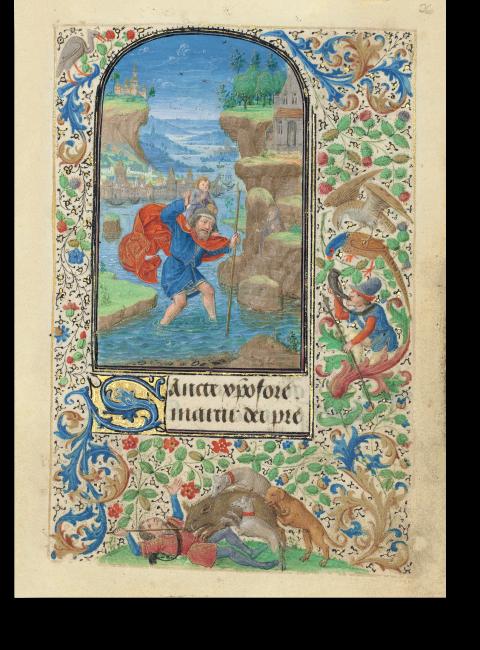 Fol. 26r:eine der schönsten Christophorus-Darstellungen der Kunstgeschichte. Lieven van Lathem verlegte die Szene in ein kunstvoll, doch realitätsnah komponiertes Landschaftsidyll.