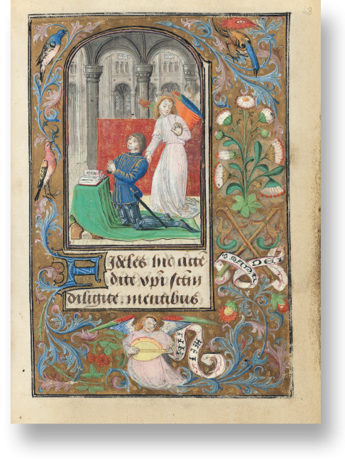 Fol. 68r: Der Herzog Karl der Kühne kniet in einer Kirche unter dem Schutz eines Engels. Er richtet sein Gebet an den Heiligen Georg, der auf der links gegenüberliegenden Seite abgebildet ist.