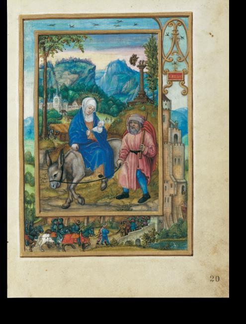 Fol. 20r: Josefs und Marias Flucht nach Ägypten. Im Rahmen findet  die typologisch entsprechende Handlung Platz: David, ganz rechts außen, auf der Flucht vor den Häschern König Sauls.