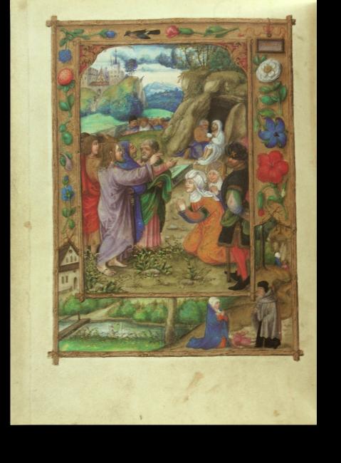 Fol. 27v: Die Auferweckung des Lazarus. Im Rahmen: die Erweckung des Sohns der Witwe von Sarepta durch Elias