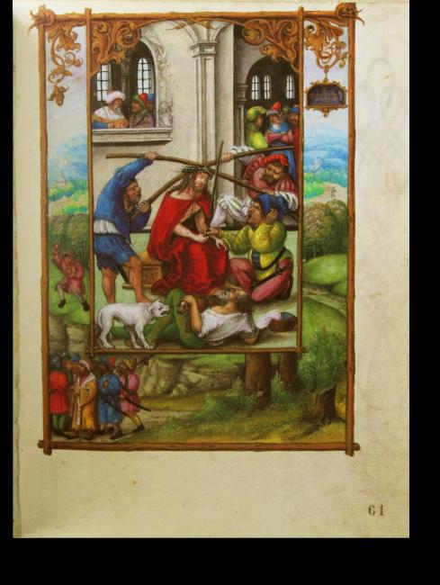 Fol. 61r: Dornenkrönung Christi.  Mit Stangen drücken zwei Gesellen die Dornenkrone auf Jesu Haupt, ein anderer drückt ihm ein Schilfrohr als Zepter in die Hand.  Im Rahmen: Simeï wirft Steine  auf David und dessen Leute.