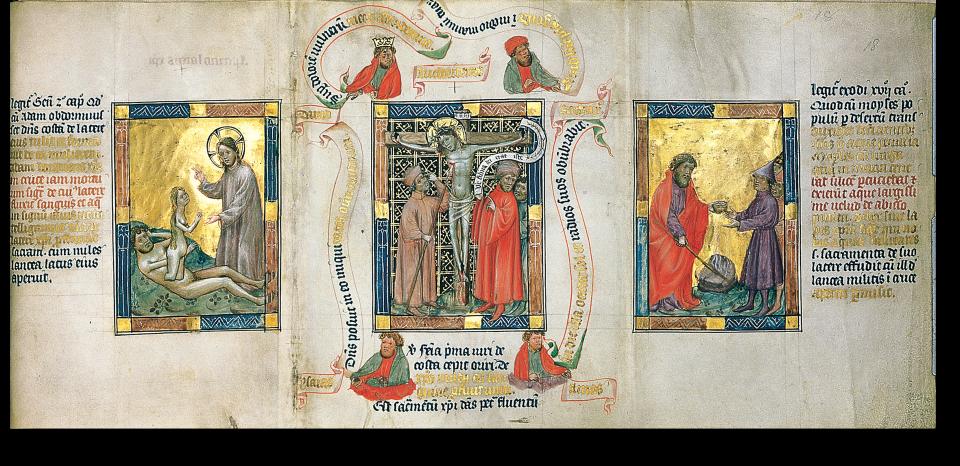 Fol. 18r: links: Erschaffung Evas; Mitte: der Lanzenstich: Longinus wird sehend; rechts: Moses schlägt Wasser aus dem Felsen.