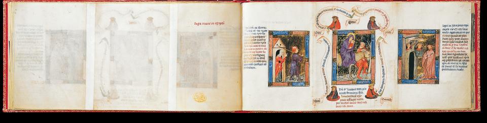 Der aufgeschlagene Band zeigt die Miniaturen auf fol. 4r links: Rebekka schickt Jakob zu Laban, in der Mitte: Flucht nach Ägypten, rechts: Michol verhilft David zur Flucht.