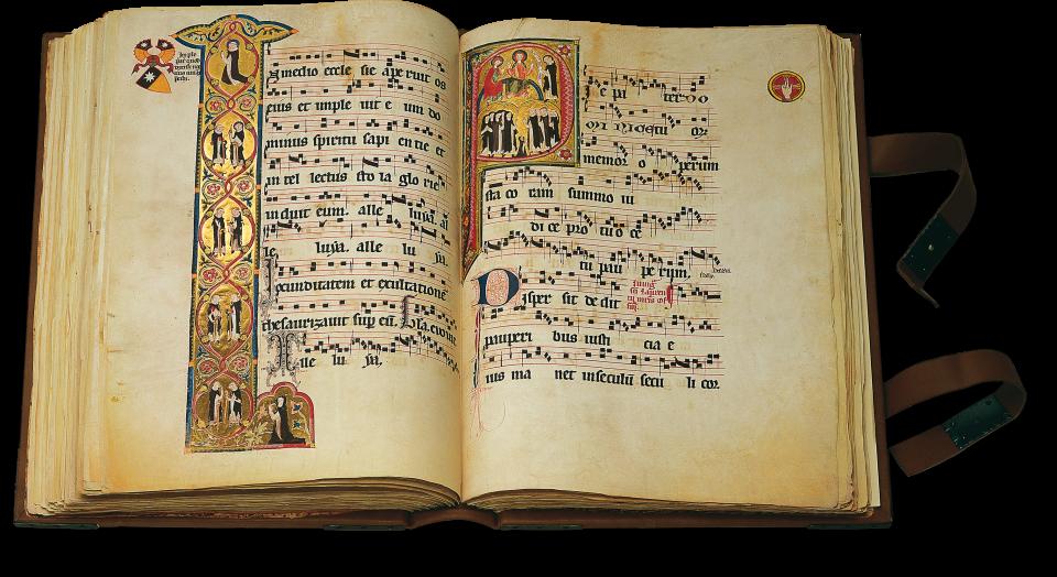 Fol. 184v/185r: links die Initiale I mit dem hl. Dominikus und Angehörigen seines Ordens; rechts in der Initiale P überantwortet Dominikus Christus seinen Orden.
