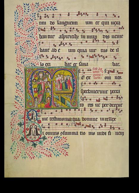 Fol. 163v: Initiale M[e expectaverunt]. Die heilige Agnes erscheint ihren Freunden.