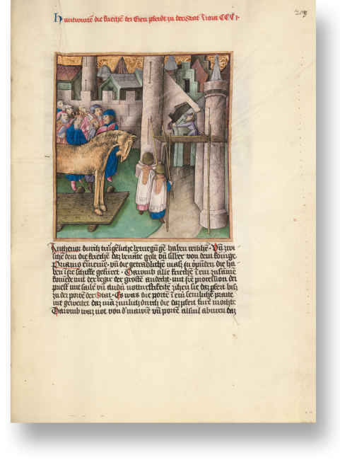 Fol. 208r zeigt eine der berühmtesten Szenen aus dem Troja-Roman, das trojanische Pferd. In einer von zwei fackeltragenden Messdienern angeführten Prozession von Priestern wird das eherne Pferd von den Griechen zum Stadttor gebracht.
