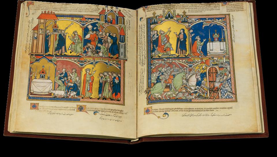 Der geöffnete Band zeigt auf Folio 39v/40r Ereignisse aus dem Leben Davids (2 Samuel 6-8), unter anderem Davids Tanz vor der Bundeslade und Davids Sieg über die Aramäer.