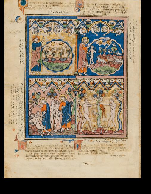 Fol. 1v: Der fünfte und sechste Schöpfungstag, die Erschaffung Evas und der Sündenfall  (Gen 1,20 – Gen 3,6).
