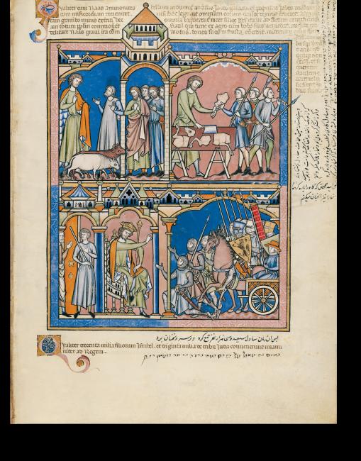 Fol. 23r: Saul ruft Israel auf, gegen die Ammoniter zu kämpfen (I Samuel 11, 1-7). Rahmungen und abschließende Architekturelemente sind durchgehende Gestaltungsmittel der Miniaturen.