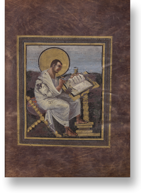 Fol. 15r: Der Evangelist Matthäus, dargestellt in der Manier eines antiken Philosophen.