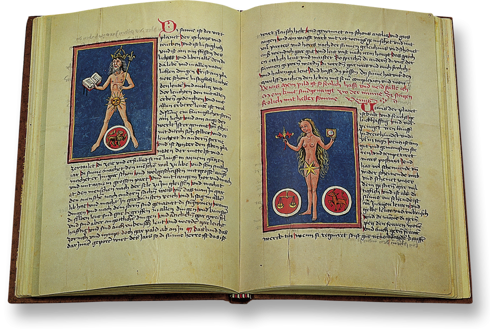 Folios 28r und 29v: »Planetenbilder« Sol und Venus.