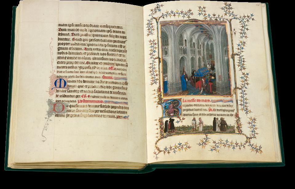 Fol. 115v/116r: Die Totenmesse. Jan van Eyck. Die Hauptminiatur zeigt eine Begräbnismesse in einer gotischen Kathedrale, die durch ihre großartige Ausführung besticht. Im Bas-de-page zeigt van Eyck eine Prozession zum Grab.