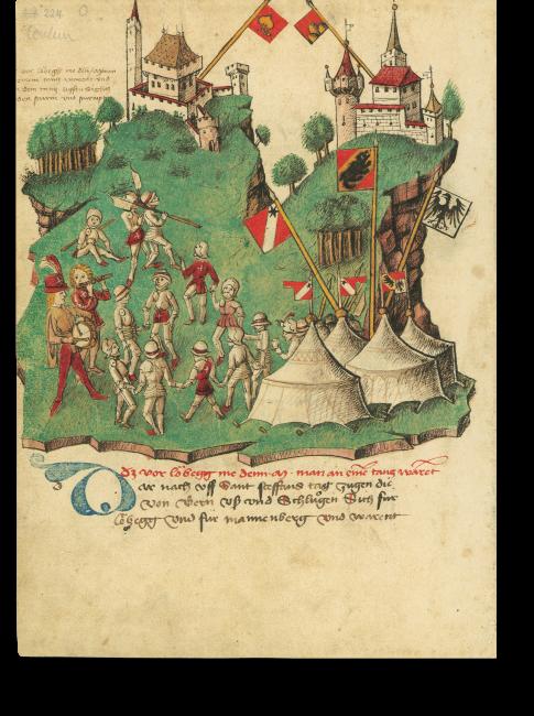 p. 224: Im Krieg gegen den Grafen von Greyerz 1349 belagerten die Berner die Burg Laubegg. Dabei sollen tausend bewaffnete Männer getanzt haben. Vom Tanz weg stürmten sie die Burg.