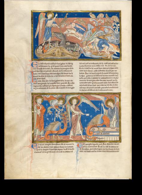 Fol. 23v: Sieg über das Tier und den falschen Propheten, beide werden in den Feuersee geworfen (Offb19,20-21). Der Drache wird in Ketten abgeführt (Offb 20,1-3).