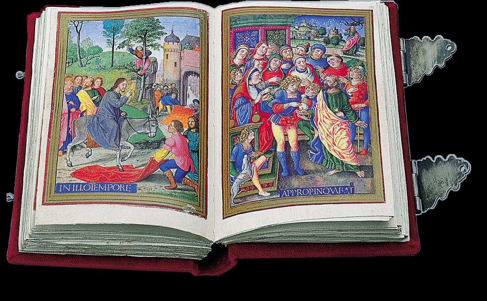 Fol. 136/37 (Bd.2) links: Der Einzug Christi in Jerusalem, G.Horenbout; Rechts Judas erhandelt sich 30 Silberlinge, G. Birago.