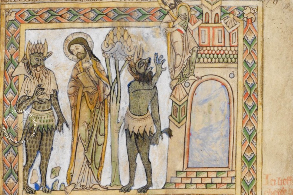 Depiction of the devil in the scene of the Temptation (fol. 18r, upper half)