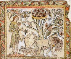 David takes the lamb from the lion's jaw (f. 7r)