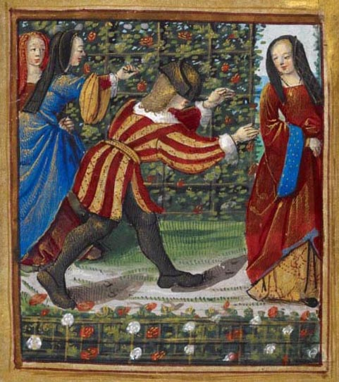 A man playing blind man's bluff with three women, from Pierre Sala's Little Book of Love, Stowe MS 955, fol. 7r