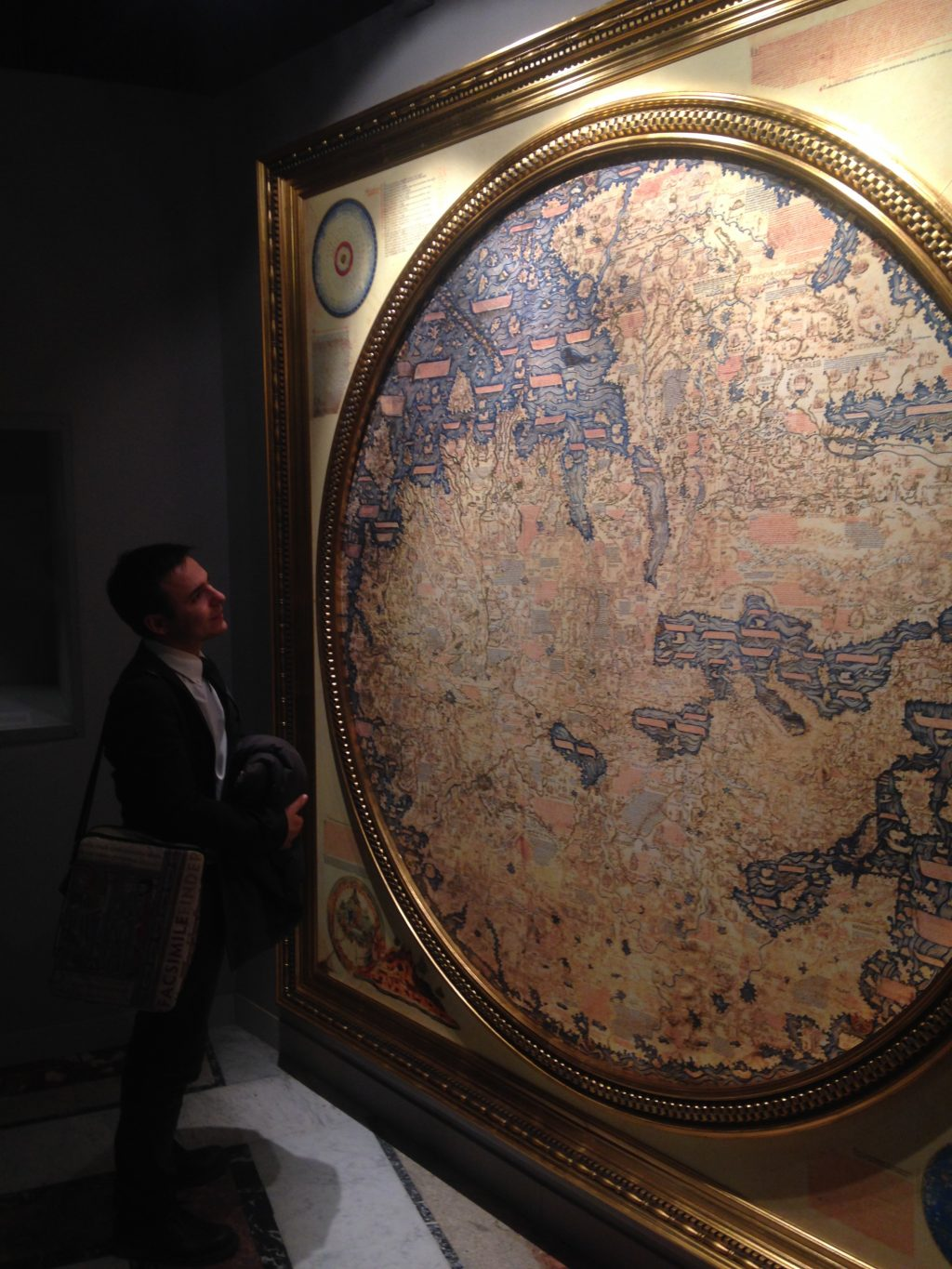 Me admiring the beautiful Fra Mauro map facsimile