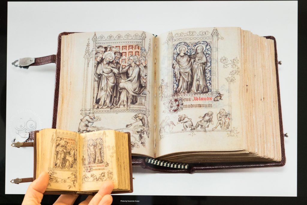 Fig. 15 Comparison between digital image and facsimile of the Hours of Jeanne d'Evreux in the Cloisters (New York). The manuscript folio digital image on a regular screen measures 7.5 x 5.5 inches, while in real life the manuscript measures 3.5 x 2.3 inches.