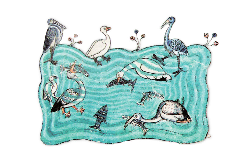 F. 6r. Pond with water birds hunting fish.