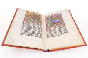 Double-page opening from the Liber Bestiarum exhibiting a miniature featuring a unicorn