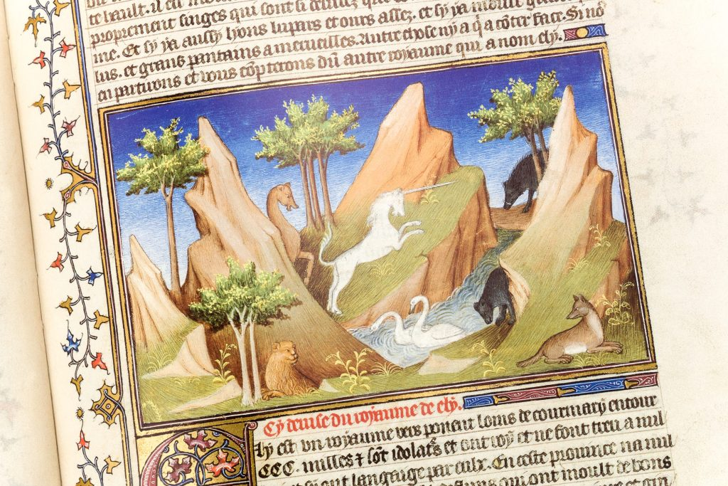 Unicorn miniature from the Book of Wonders (Ms. Français 2810)