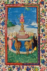 Full-page illustration from Petrarch's Triumphs Trionfi, Ms. 55.K.10c, f. 17v