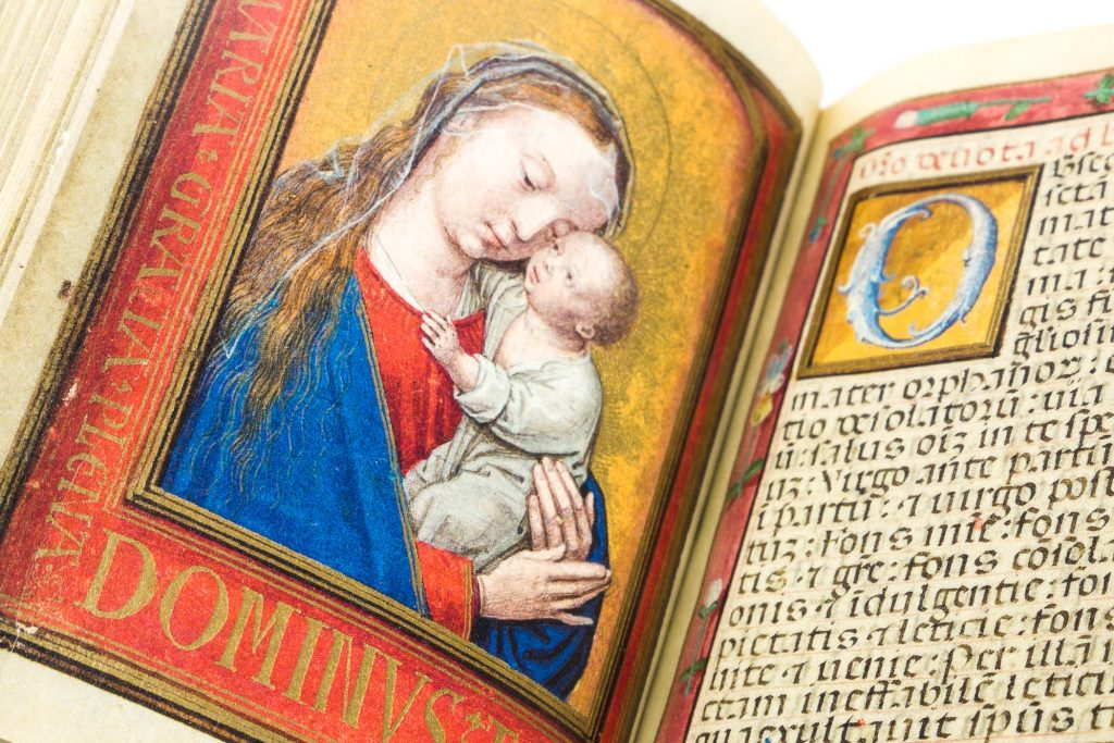 Miniature of the Virgin and Child featuring the artistic technique of the dramatic close-up