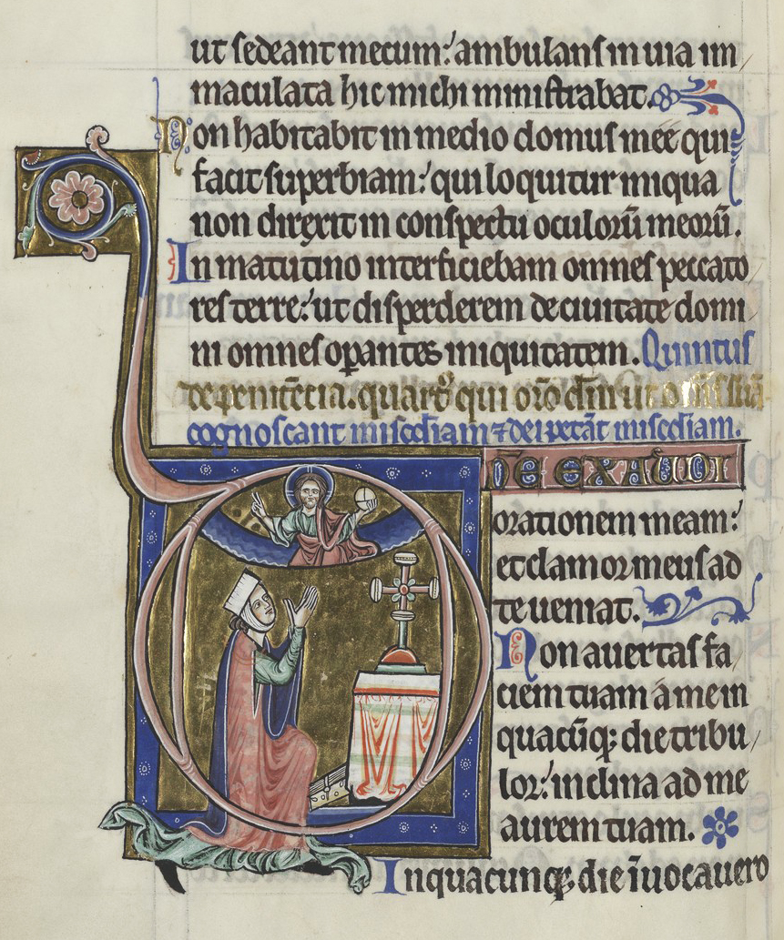 f. 122v possibly depicting a kneeling Blanche