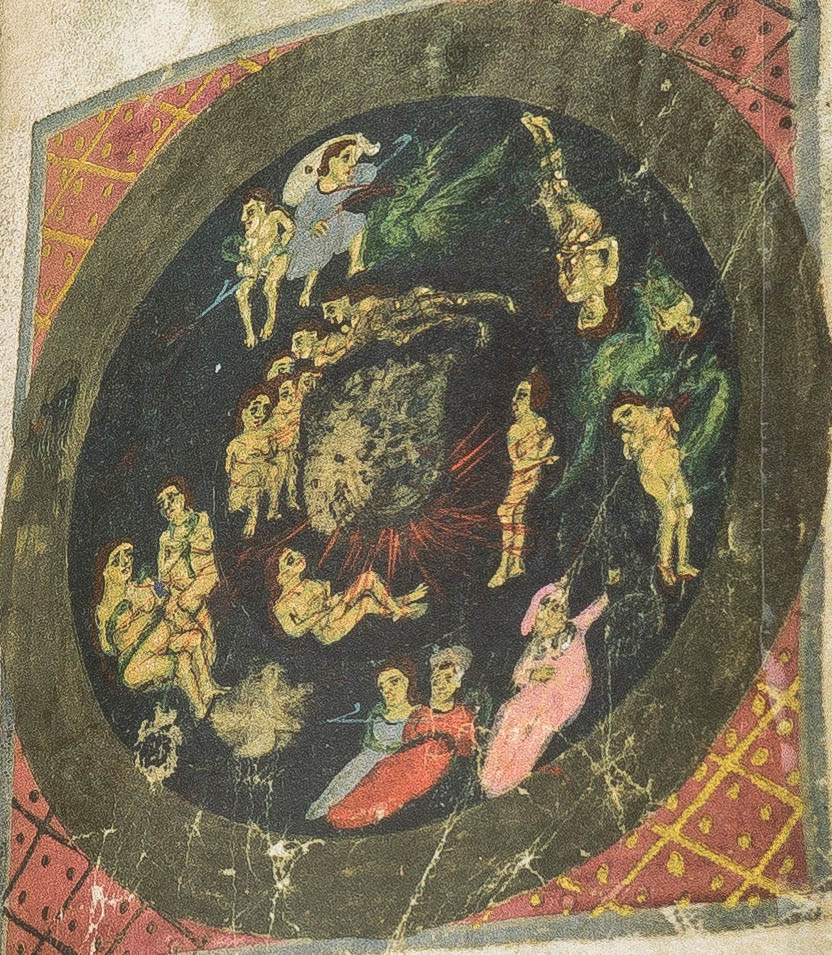 F. 157r echoing the Dantesque structure of Hell - Offiziolo by Francesco da Barberino
