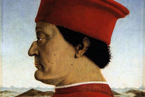 Detail of Piero della Francesca's double portrait of the Dukes of Urbino