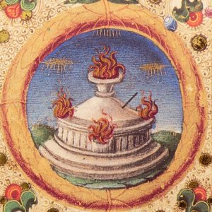 Detail of the Bible of Borso d'Este: the fire pit