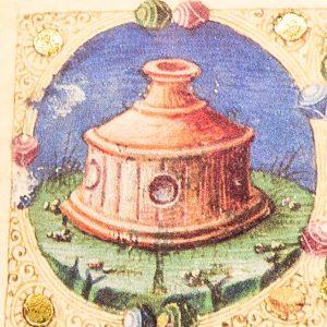 Detail of the Bible of Borso d'Este: the drinking trough