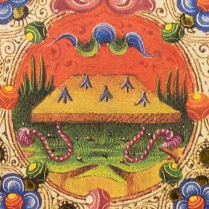Detail of the Bible of Borso d'Este: the harrow