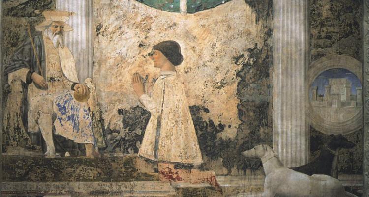 Piero della Francesca, Sigismondo Pandolfo Malatesta Praying in Front of St. Sigismund (1451) - Fresco, Tempio Malatestiano, Rimini