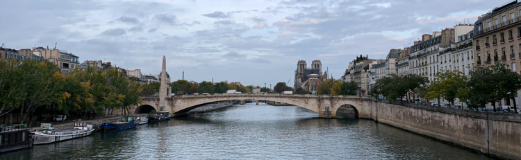 The Seine river and  the cathedral of Notre-Dame