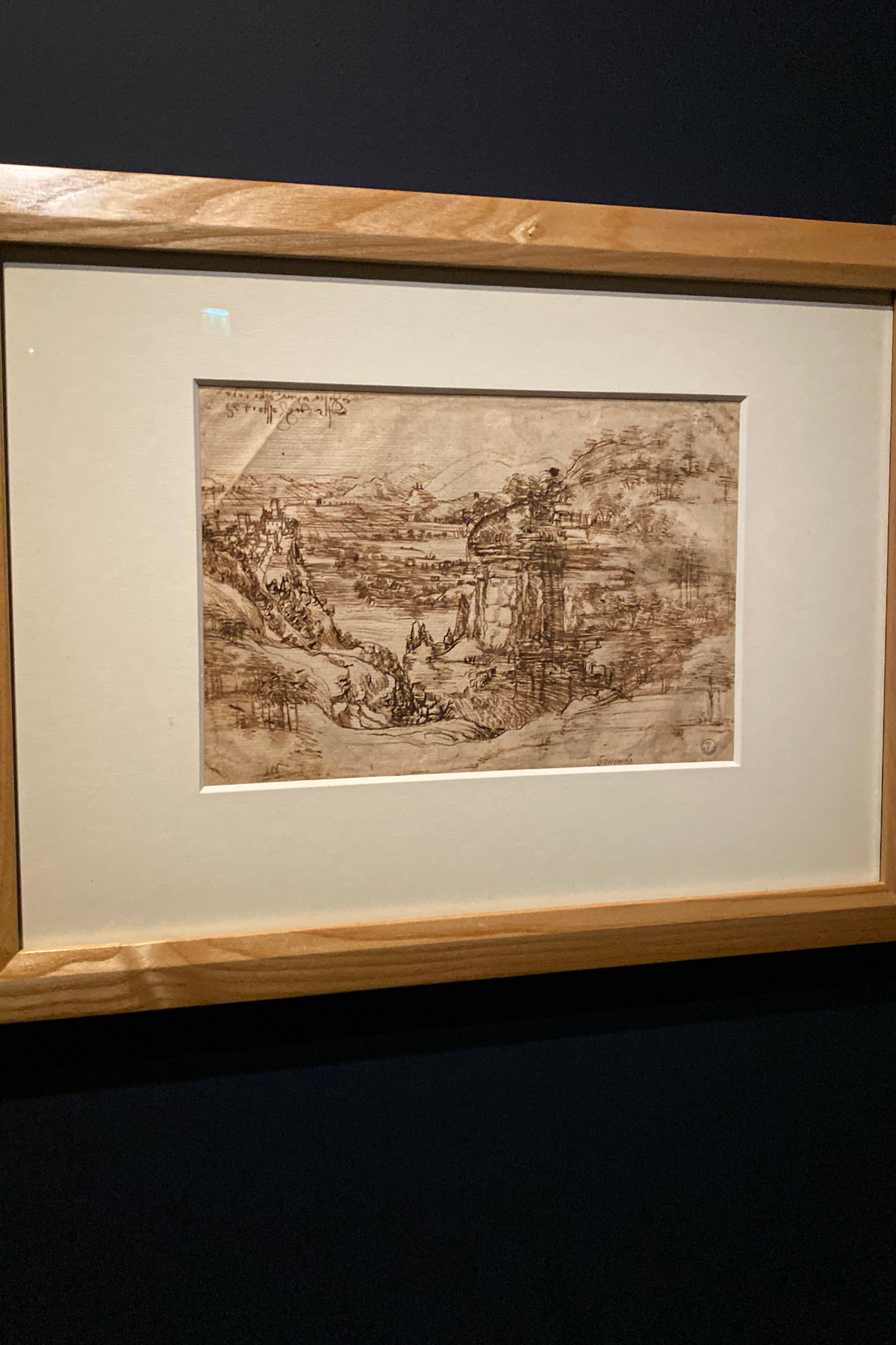 Leonardo da Vinci Exhibition in the Louvre Museum: Landscape drawing for Santa Maria della Neve