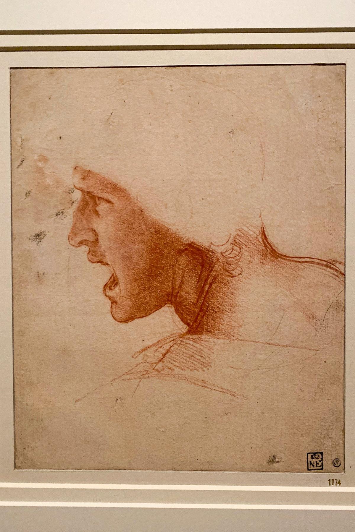 Leonardo da Vinci Exhibition in the Louvre Museum: Study for the Head of a Soldier in the Battle of Anghiari