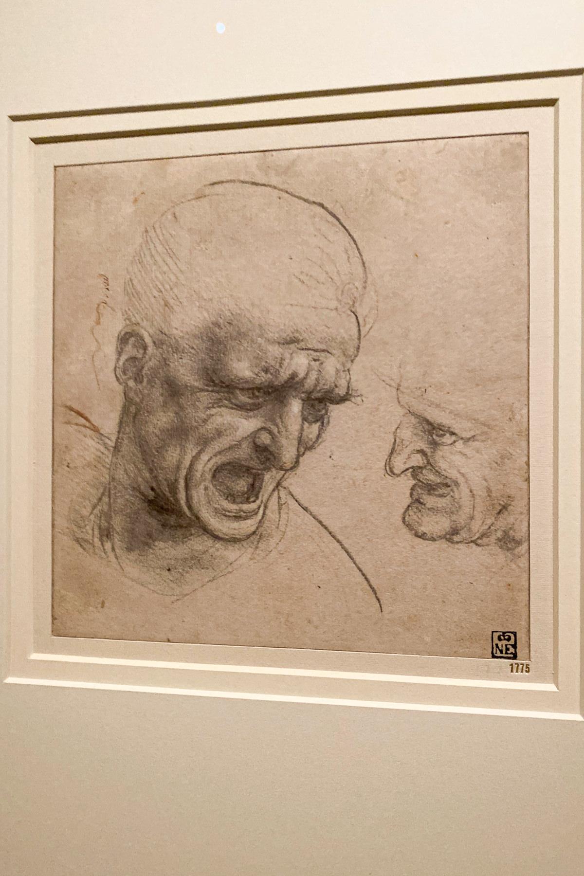 Leonardo da Vinci Exhibition in the Louvre Museum: Study of Two Warriors Heads for the Battle of Anghiari