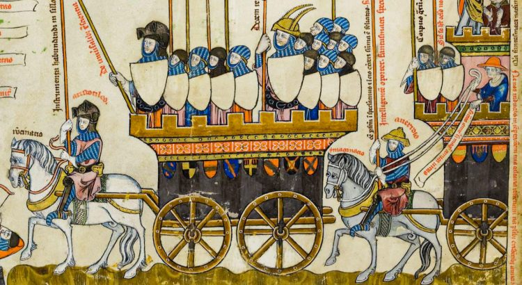Aristotles and Averroe leading allegorical chariots containing the principles of their philosophy.