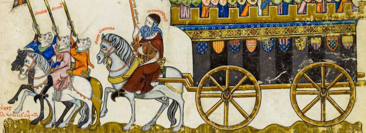 """The placard on Ramon's horse, """"recta intentio"""", tells us that Llull sought to honor God"""